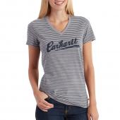 Carhartt 102597 Women's Wellton Short Sleeve Striped Logo T-Shirt