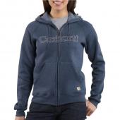 Carhartt WK012 Women's Midweight Zip Front Graphic Hooded Sweatshirt Closeout