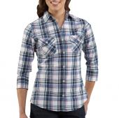 Carhartt WS013 Women's Roll-Up Sleeve Plaid Poplin Shirt Closeout
